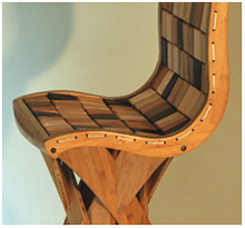 Detail of Bamboo barstool with back