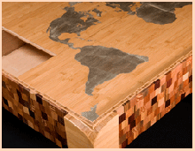 Sliding puzzle table with world map theme