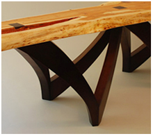 Natural yew slab bench with walnut base